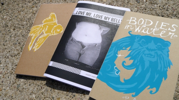 Our first 3 titles: a lit mag, zine, and chapbook.
