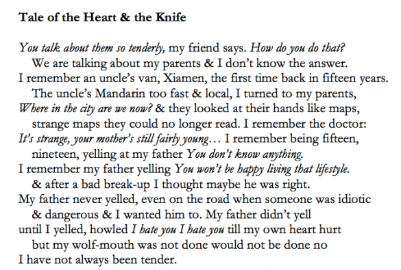 The Tale of the Heart & the Knife (excerpt), Chen Chen