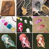 start to finish, from reduction linocut to stencil through to screen printed varieties